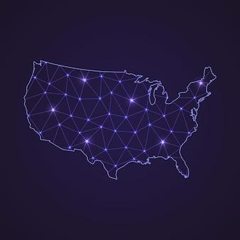 Digitale netzwerkkarte der vereinigten staaten. abstrakte verbindungslinie und punkt auf dunklem hintergrund