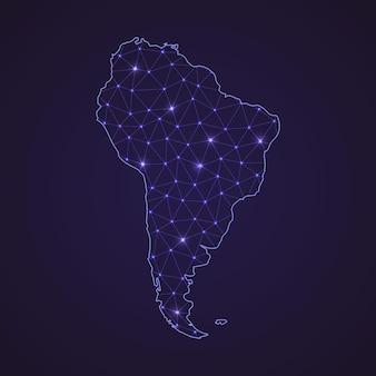 Digitale netzwerkkarte von südamerika. abstrakte verbindungslinie und punkt auf dunklem hintergrund