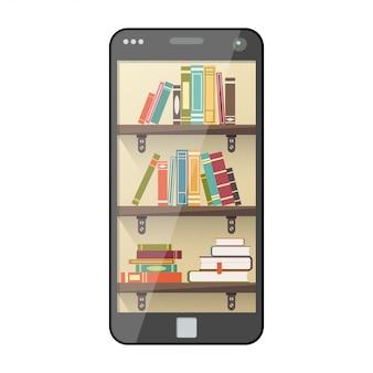 Digitale online-bibliothek auf dem smartphone