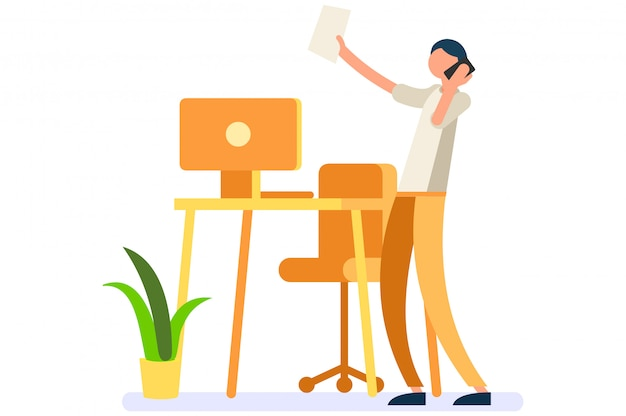 Digitale person frau, die zu hause arbeitet