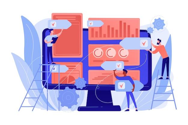 Digitale pr-agentur erhöht online-präsenz. pr-strategie, erwerb natürlicher links und domain-autorität, markenbekanntheit und keyword-ranking-konzept. isolierte illustration des rosa korallenblauvektors