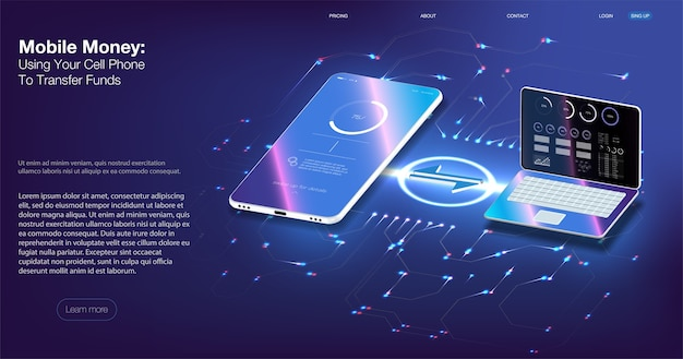 Digitale prüfung. isometrische illustration smartphone mit kreditkarte mobile