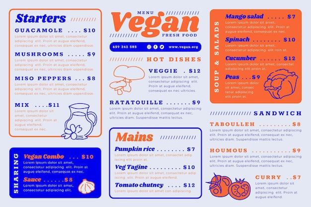 Digitale restaurantmenüvorlage mit köstlichen mahlzeiten