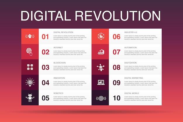 Digitale revolution infografik 10-optionsvorlage. internet, blockchain, innovation, industrie 4.0 einfache symbole