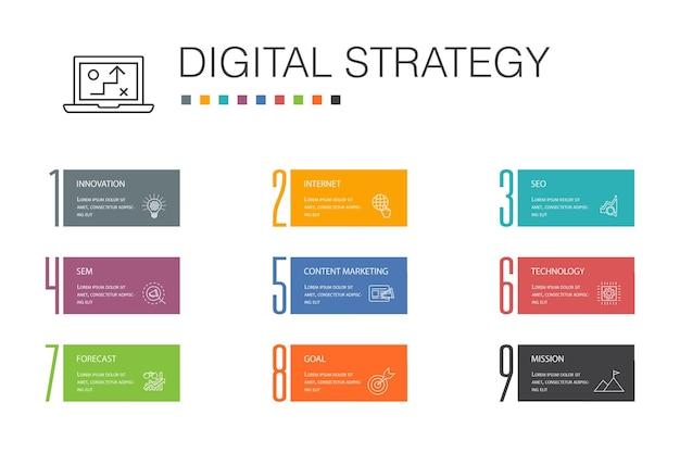 Digitale strategie infografik 10 option line concept.internet, seo, content marketing, mission einfache symbole