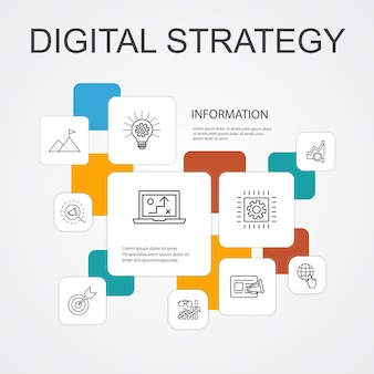 Digitale strategie infografik 10-zeilen-icons template.internet, seo, content marketing, mission einfache symbole