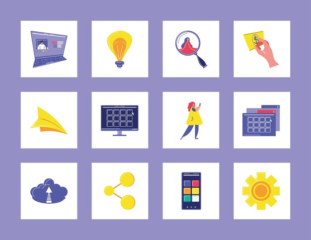 Digitale symbole für social media-daten