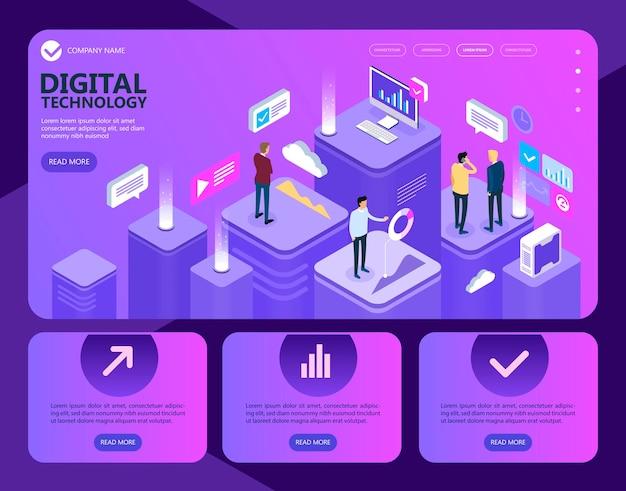 Digitale technologie. isometrische menschen arbeiten zusammen und entwickeln eine erfolgreiche geschäftsstrategie