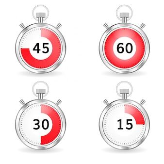 Digitale timer setzen stoppuhr-sammlungs-timer mit pfeil und roter zeitleiste
