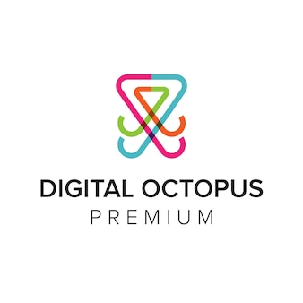 Digitale tintenfisch-logo-symbol-vektor-vorlage