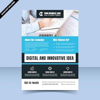 Digitale und innovative ideenflyer-vorlagenagentur, cyan clean flyer