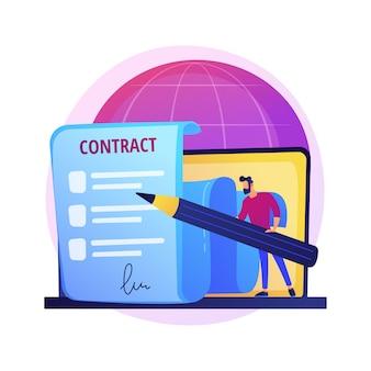 Digitale vertragsunterzeichnung. online-dokument, vertragsunterzeichnung, computergestützter geschäftsabschluss. geschäftsmann, partner mit elektronischer signatur