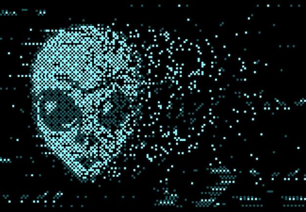 Digitale verzerrung des glitch-bildschirms mit pixelrauschen und bröckelndem gesicht von außerirdischen