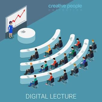 Digitale vorlesung webkonferenz flach isometrisch