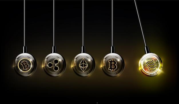 Digitale währung der waage, bitcoin, ethereum, welligkeit, bitcoin-bargeldlogo in form der newton-wiege, fintech-weltfinanzkonzept, illustration
