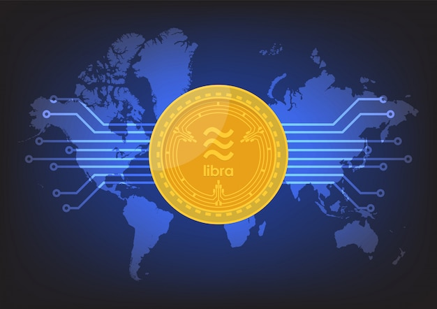 Digitale währung der waage mit weltkarte