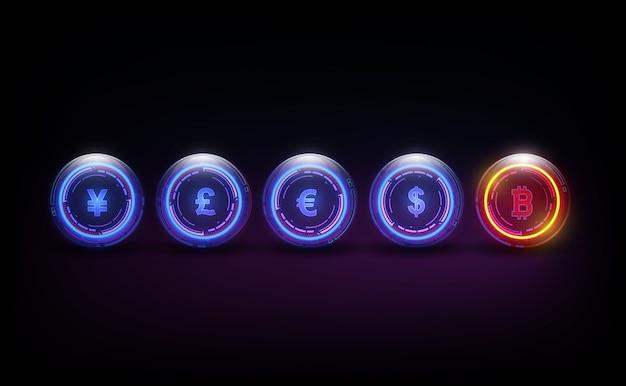 Digitale währung, dollar, euro, pfund, yen und yuan bitcoin in form von newton-wiege, fintech-weltfinanzkonzept.