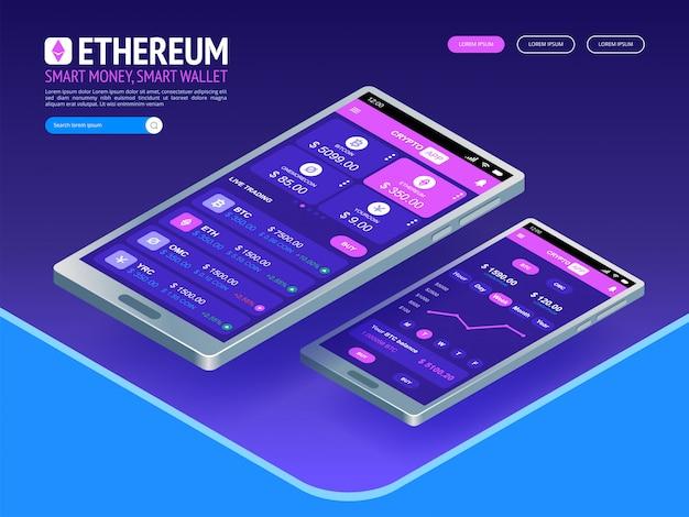 Digitale währung von ethereum. futuristisches digitales geld. weltweites netzkonzept der isometrischen technologie.