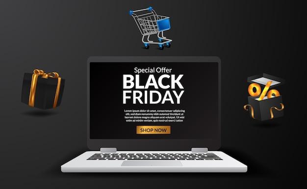 Digitale werbung für black friday sale auf dem laptop