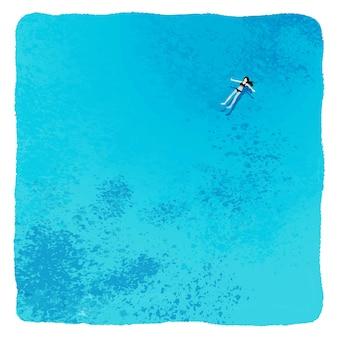 Digitale zeichnung eines mädchens in einem badeanzug, der auf ihrem rücken in einer blauen, transparenten seeglücksentspannung schwimmt