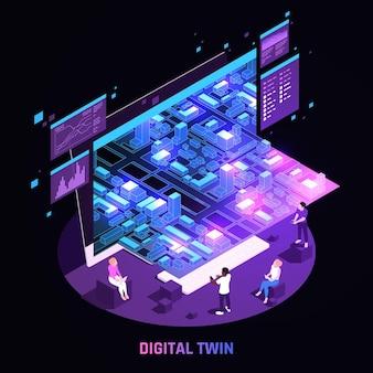 Digitale zwillingstechnologie smart city-infrastruktursimulationsanalyse leuchtende dunkle kreisförmige isometrische zusammensetzung schwarze illustration