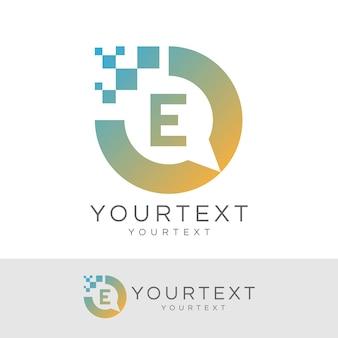 Digitaler berater anfangsbuchstabe e logo design