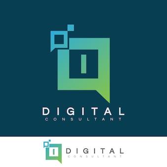 Digitaler berater anfangsbuchstabe i logo design