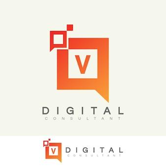 Digitaler berater initial letter v logo design