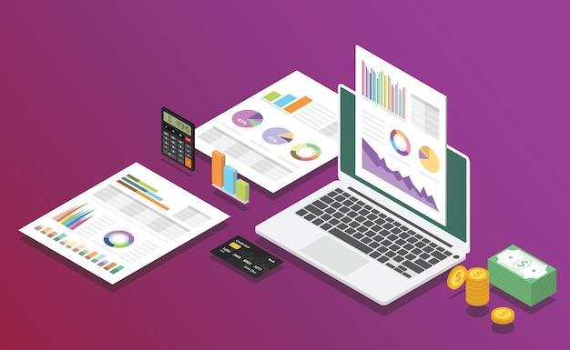 Digitaler bericht des geschäftsmarketings mit isometrischer art mit laptop