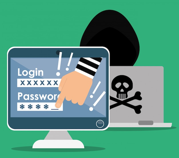 Digitaler betrug und hacking-design