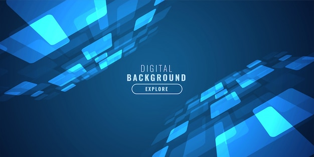 Digitaler blauer technologiehintergrund mit perspektive