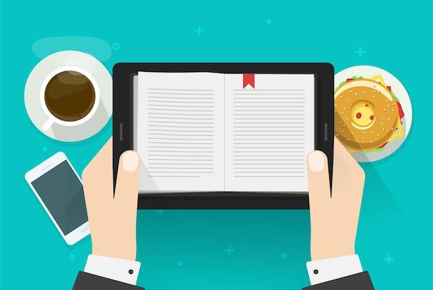 Digitaler buchlesemann, elektronischer notizbuchleser auf tablet-computer in persönlicher hand