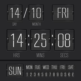 Digitaler digitaler wöchentlicher timer mit schwarzem flipboard und datum und uhrzeit der woche