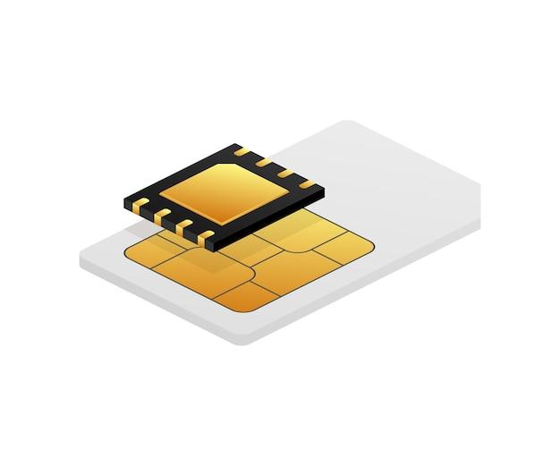 Digitaler e-sim-chip auf weiß