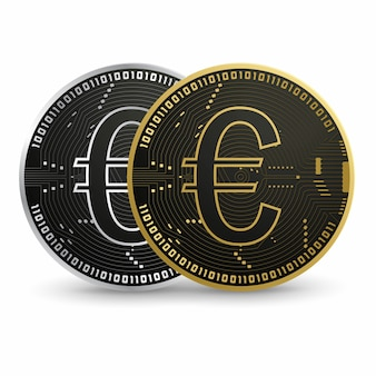 Digitaler euro, schwarze goldmünze
