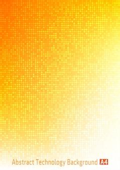 Digitaler farbverlaufhintergrund des abstrakten bunten technologiekreises pixel mit roten, orangefarbenen, gelben farben, hellem musterhintergrund des geschäfts mit runden pixeln im a4-papierformat.