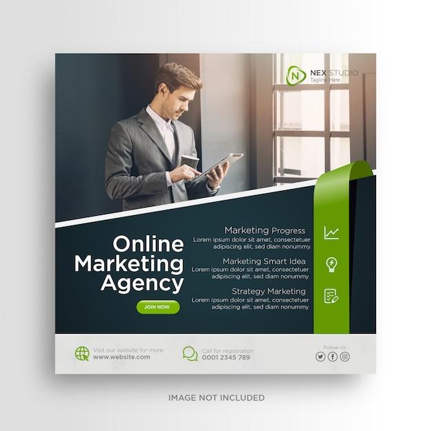 Digitaler geschäftsmarketing-social-media-banner-quadrat-flyer