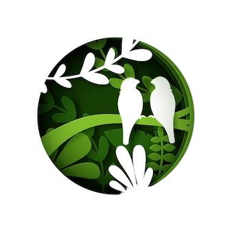 Digitaler handwerksstil des grünen waldes mit paar vögeln.