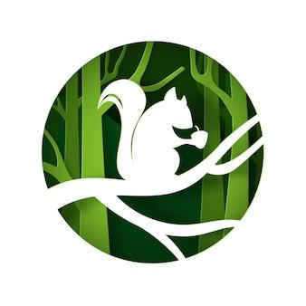 Digitaler handwerksstil des grünen waldes und des eichhörnchens mit kastanie. Premium Vektoren