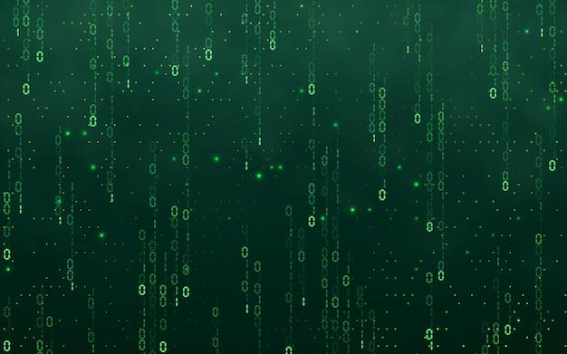 Digitaler hintergrund der grünen matrix. fallende zahlen digitale netzwerktechnologie. futuristischer cyberspace. vektor-illustration.