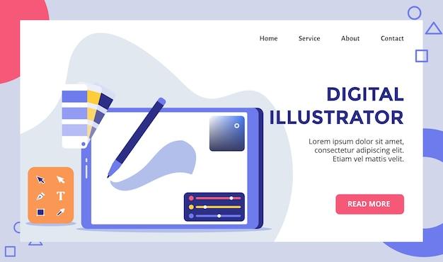 Digitaler illustratorstift auf dem weg der landingpage-vorlage der zeichenwerkzeugkampagne
