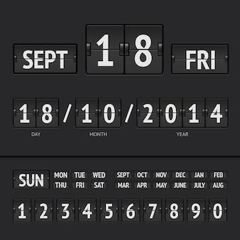 Digitaler kalender der schwarzen flip-anzeigetafel mit datum und uhrzeit der woche