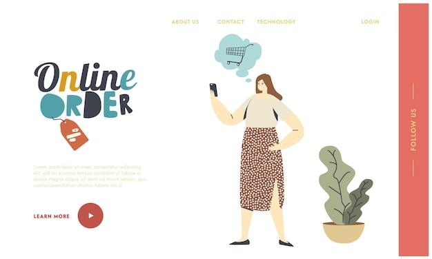 Digitaler kauf, internet-shop-landing-page-vorlage. weiblicher kundencharakter wählt waren mit smartphone aus. online einkaufen. mädchen kaufen mit gadget-anwendung. lineare vektorillustration