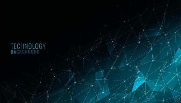 Digitaler low-poly-technologie-hintergrund mit netzwerknetz