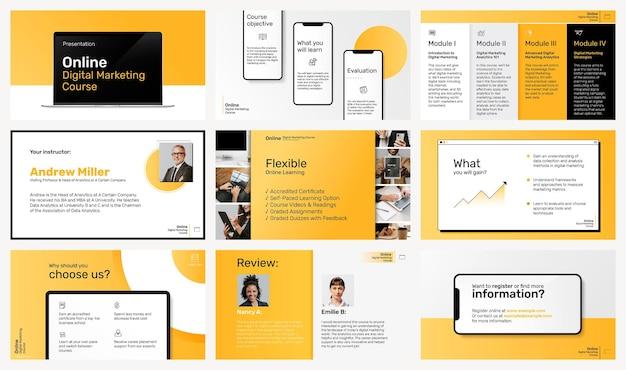 Digitaler marketing-präsentationsvorlagenvektor mit gerätebildschirmmodell