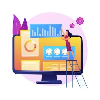 Digitaler marketingplan. smm-geschäft, online-analyseschnittstelle, display-werbung. analyst untersucht statistische daten zur markenbewertung