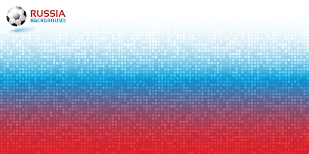 Digitaler roter blauer horizontaler hintergrund des farbverlaufspixels. russland flagge farben. vektor.