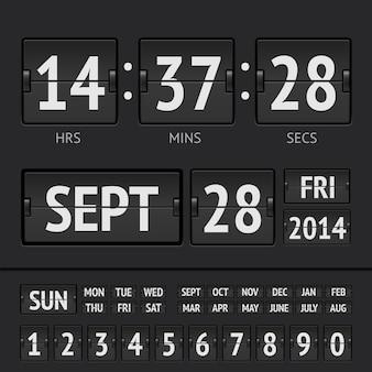 Digitaler timer der schwarzen flip-anzeigetafel mit datum und uhrzeit der woche