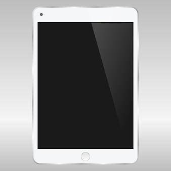 Digitaler weicher weißer tablettenspott des realistischen vektors oben mit weißem leerem bildschirm