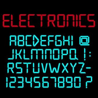 Digitales alphabet, zahlen und satzzeichen